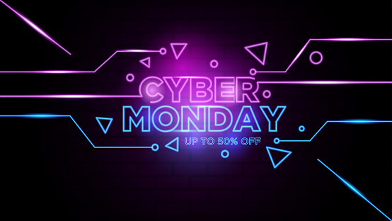 Cyber monday neon sign Background Vector