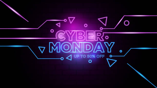 ilustraciones, imágenes clip art, dibujos animados e iconos de stock de cyber monday neon signo background vector - cyber monday