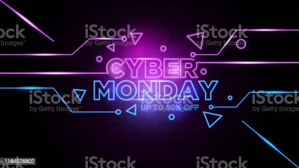 Cyber Monday Neon Sign Background Vector Stock Illustration - Download Image Now
