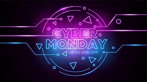 Cyber monday neon sign Background Vector vector art illustration