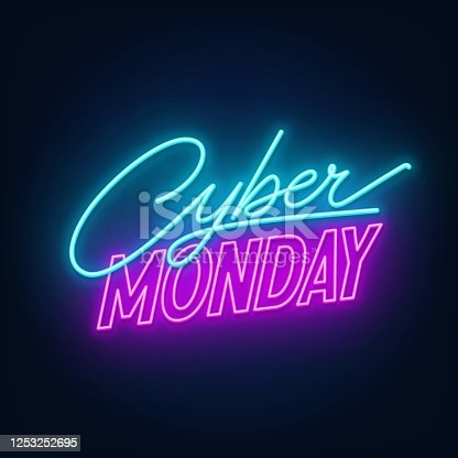 Cyber Monday neon sign. Glowing neon illustration on a dark background.
