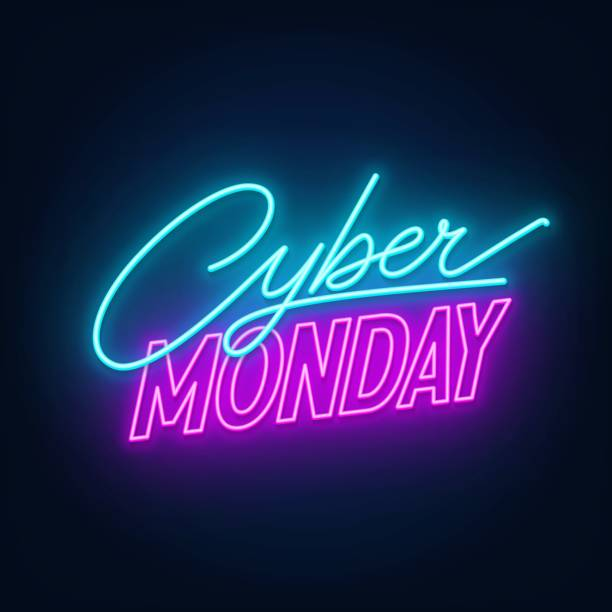 Cyber Monday neon sign on a dark background. Cyber Monday neon sign. Glowing neon illustration on a dark background. cyber monday stock illustrations
