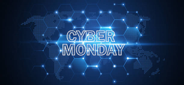 Cyber Monday Online Sale Event. Vector Technology illustration Cyber Monday. Promotional Online Sale Event. Vector Technology illustration cyber monday stock illustrations
