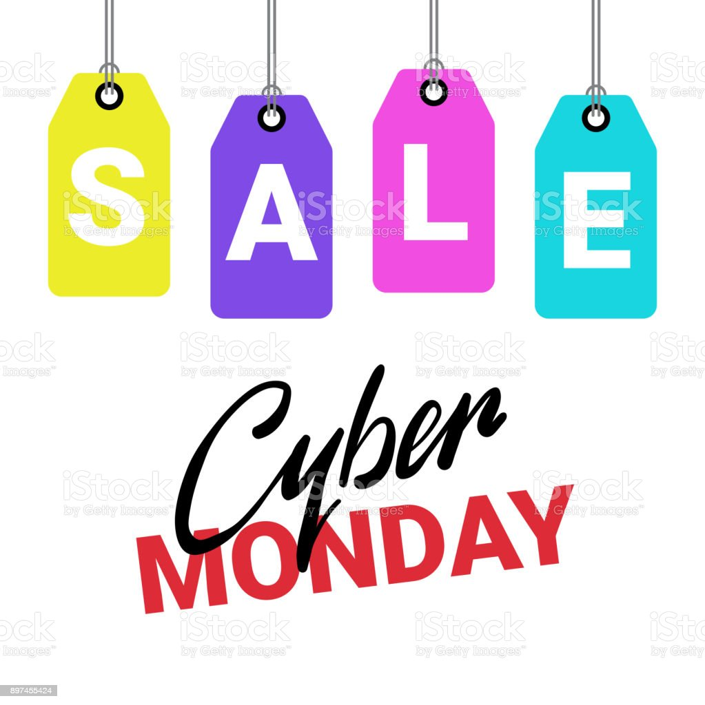 3182d543e5 Cyber Monday Poster Sale Text On Shopping Tags Over White Background  Discount Banner Design royalty-
