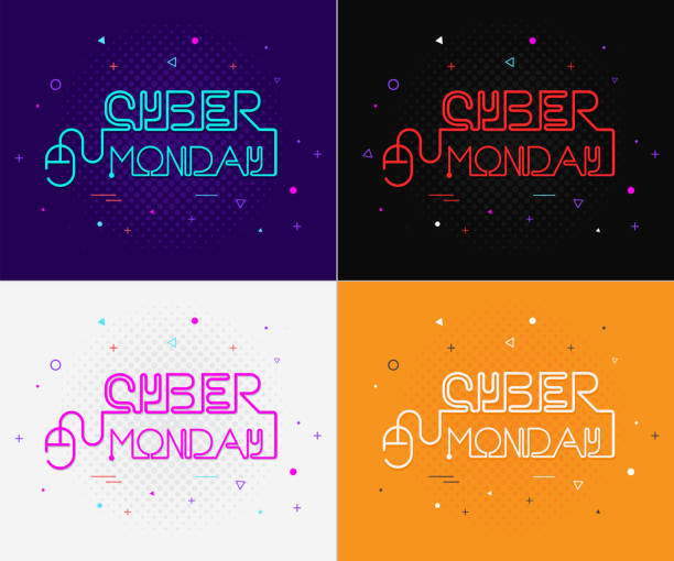 cyber monday poster vector illustration - cyber monday stock illustrations