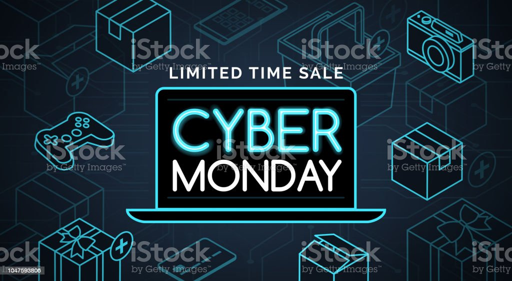 Cyber monday promotional sale shopping Cyber monday promotional sale: online shopping and e-commerce Advertisement stock vector