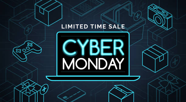 cyber monday promotional sale shopping - cyber monday stock illustrations