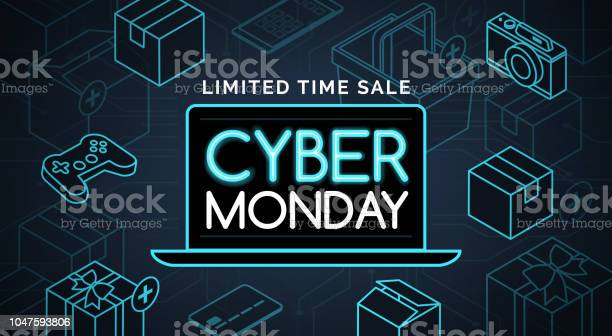 Cyber Monday Promotional Sale Shopping Stock Illustration - Download Image Now