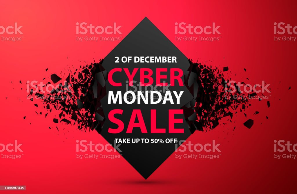Cyber Monday Sale Abstract Background. Vector Banner with explosion effect - Векторная графика Абстрактный роялти-фри