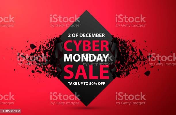 Cyber Monday Sale Abstract Background Vector Banner With Explosion Effect — стоковая векторная графика и другие изображения на тему Абстрактный