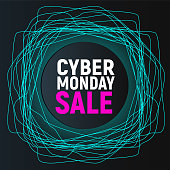 Cyber Monday Sale Abstract Poster. Blue Neon Promo Banner on Black Background Vector Illustration