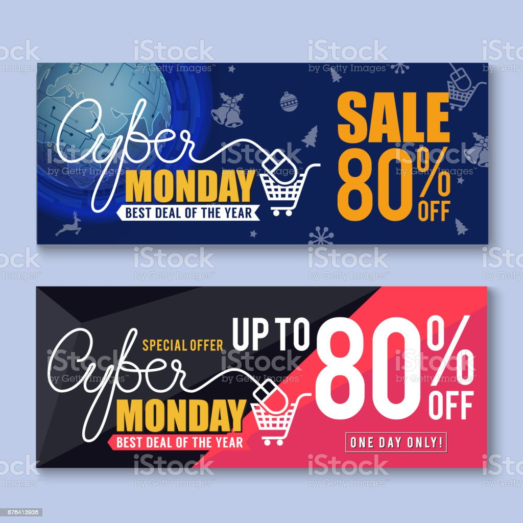 Cyber Monday Sale Banner Background Cyber Monday Sale Banner Background for Good Deal Promotion. Cyber Monday Tags and Label Design.Vector illustration Advertisement stock vector