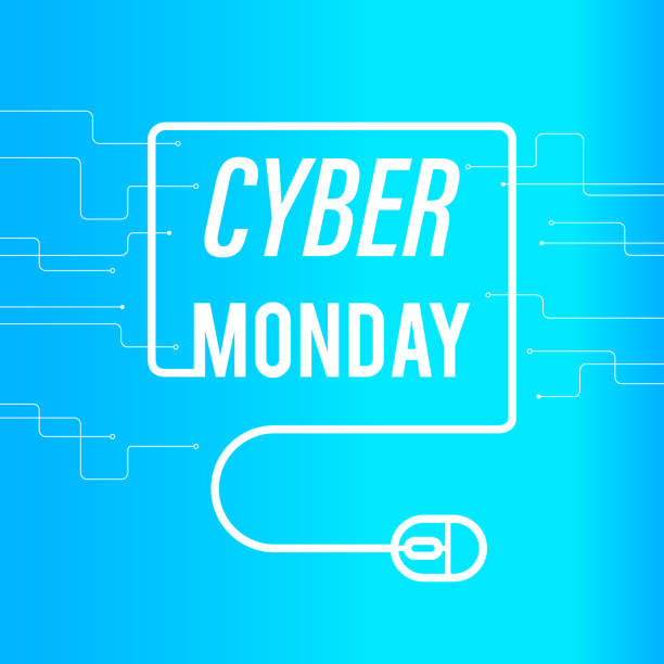 cyber monday sale banner. blue background - cyber monday stock illustrations