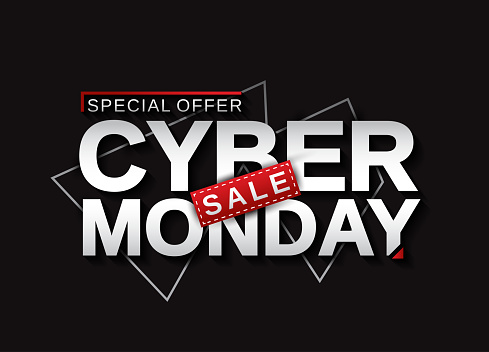 Cyber Monday sale banner card. Vector illustration.