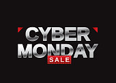 Cyber Monday sale banner card with metallic letters on black background. Vector illustration. EPS10