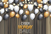 Cyber Monday Sale banner design template. Big discount advertising promo concept with balloons on wooden board plank wall and typography text. Website or magazine decoration. Vector illustration.