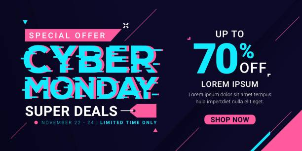 Cyber Monday sale banner template for business promotion vector illustration Cyber Monday sale banner template for business promotion vector illustration cyber monday stock illustrations