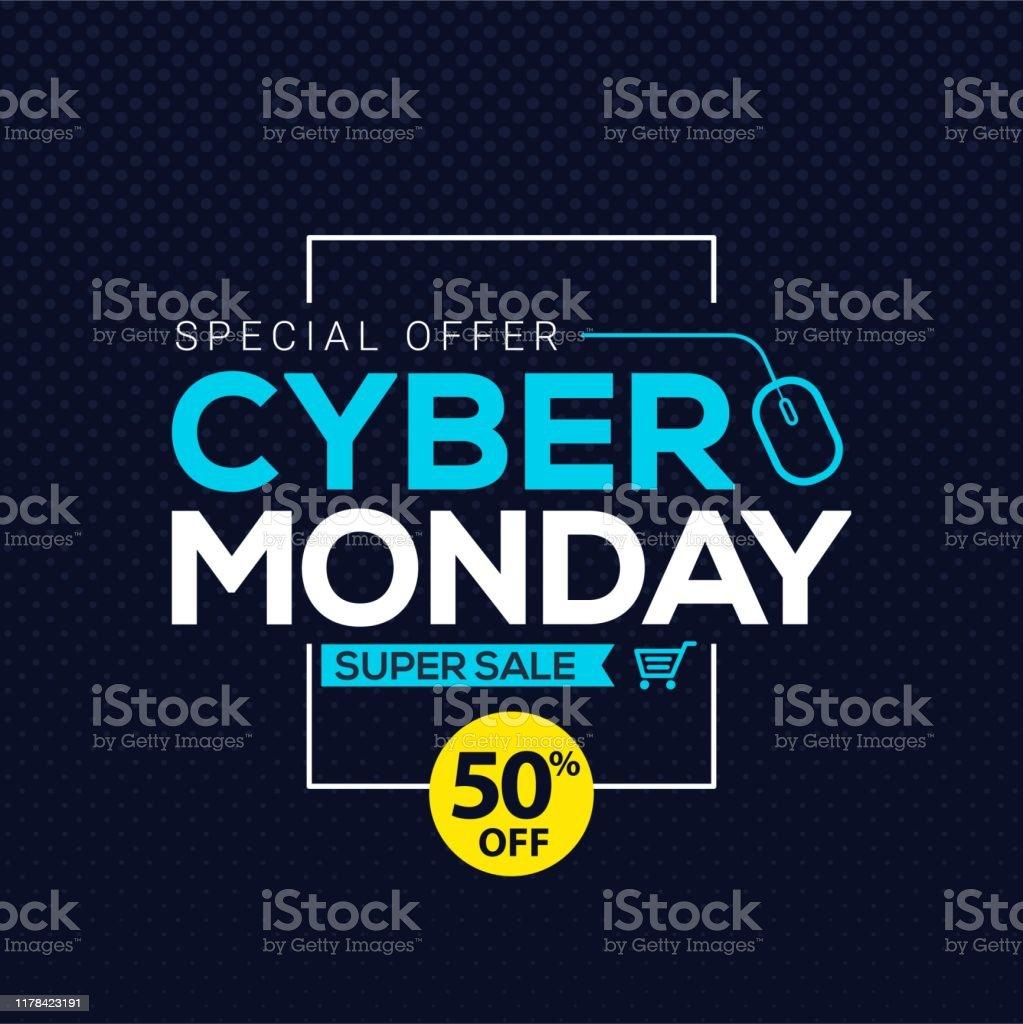Cyber понедельник продажи баннер шаблон для бизнес-продвижение вектор иллюстрации - Векторная графика Абстрактный роялти-фри