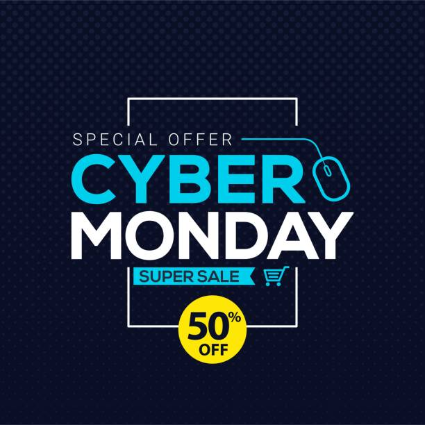 cyber monday sale banner template for business promotion vector illustration - cyber monday stock illustrations