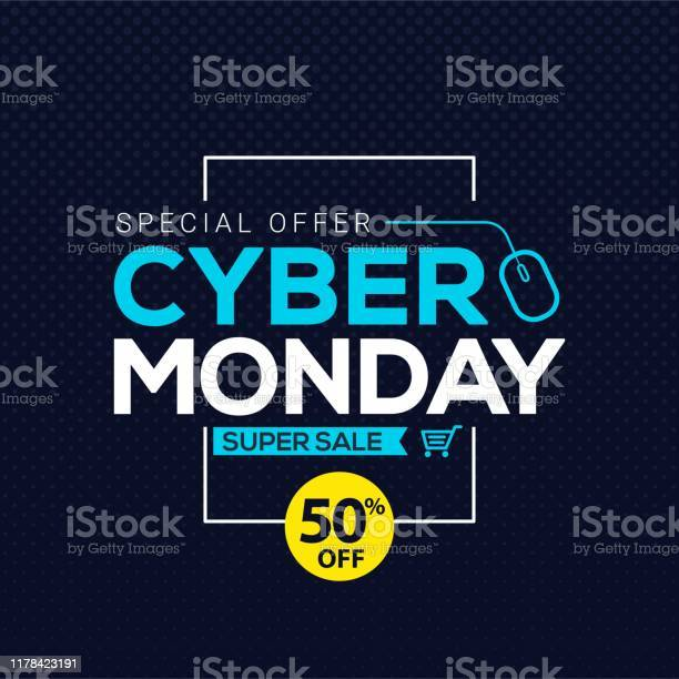 Cyber Monday Sale Banner Template For Business Promotion Vector Illustration Stock Illustration - Download Image Now