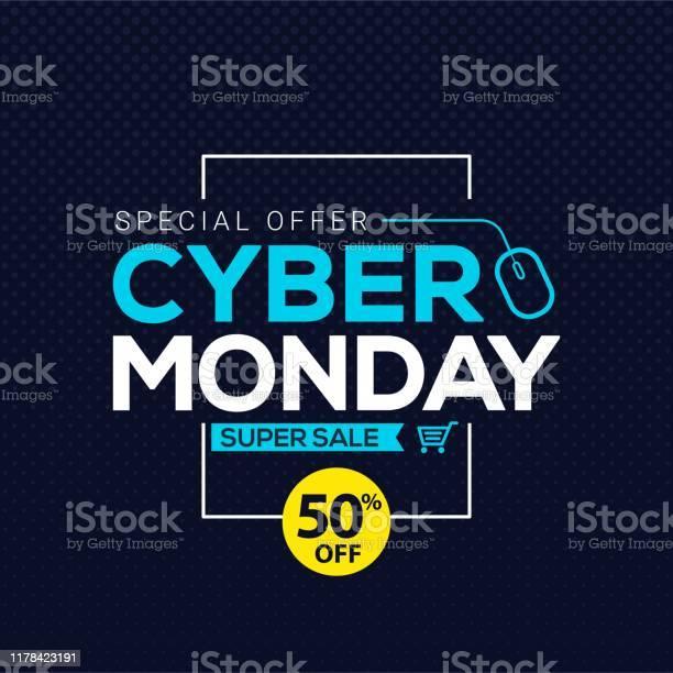 Cyber Понедельник Продажи Баннер Шаблон Для Бизнеспродвижение Вектор Иллюстрации — стоковая векторная графика и другие изображения на тему Абстрактный