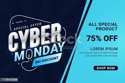 istock Cyber Monday sale banner template for business promotion vector illustration 1178423206