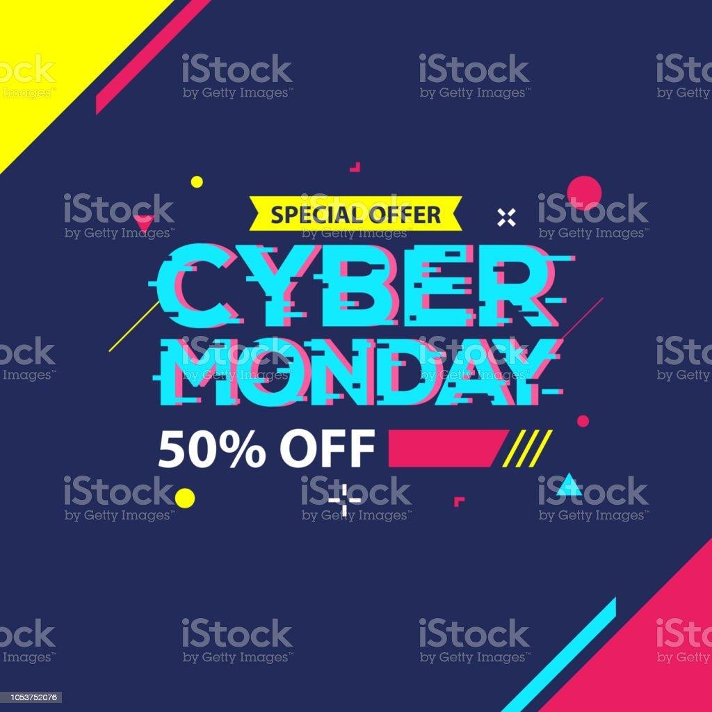 Cyber Monday Sale banner - Векторная графика Абстрактный роялти-фри