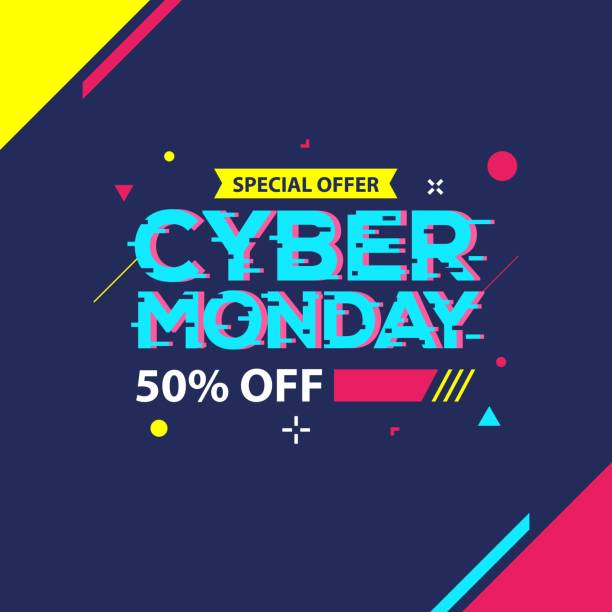 cyber monday sale banner - cyber monday stock illustrations
