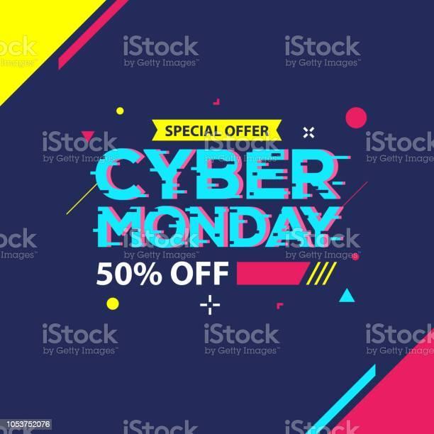 Cyber Monday Sale Banner — стоковая векторная графика и другие изображения на тему Абстрактный