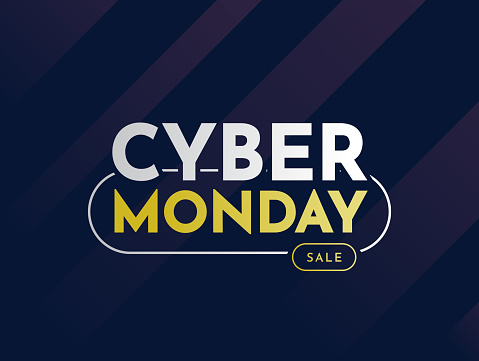 Cyber Monday sale card, banner, background. Vector
