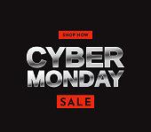 Cyber Monday sale card. Shop now. Vector illustration. EPS10