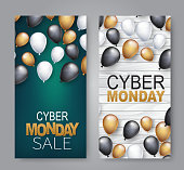 Cyber Monday Sale design concept. A set of vertical banners. Red, white, and black balloons over wooden board. Advertisement vector illustration.