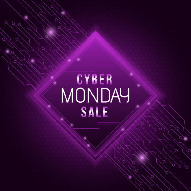cyber monday sale poster or template design with purple circuit hexagon pattern background. - cyber monday stock illustrations