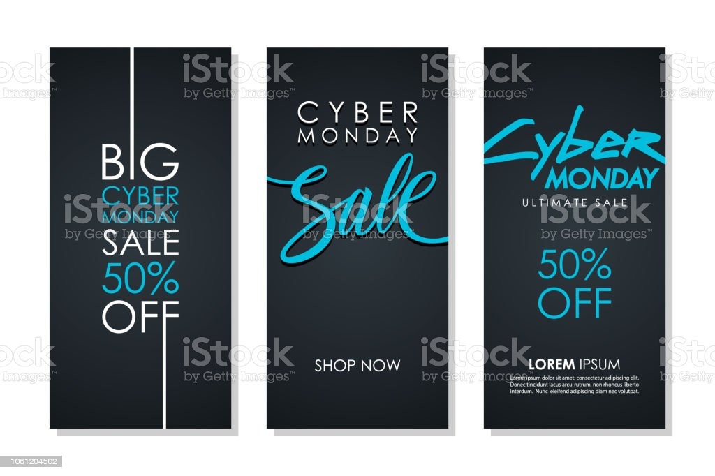 Cyber Monday Sale promotional flyers set with hand lettering for business, commerce, discount shopping and advertising. Cyber Monday Sale promotional flyers set with hand lettering for business, commerce, discount shopping and advertising. Vector illustration. Advertisement stock vector