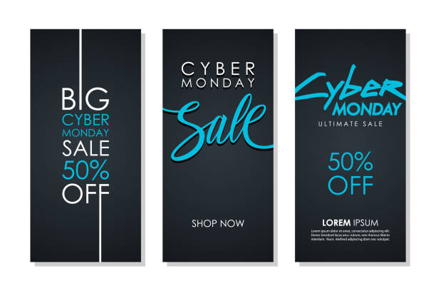 cyber monday sale promotional flyers set with hand lettering for business, commerce, discount shopping and advertising. - cyber monday stock illustrations