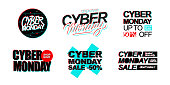 Cyber Monday Sale promotional set with hand lettering for online business, internet commerce, discount shopping and advertising. Vector illustration.