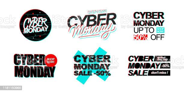 Cyber Monday Sale Promotional Set With Hand Lettering For Online Business Internet Commerce Discount Shopping And Advertising Stock Illustration - Download Image Now