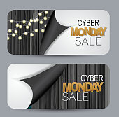 Cyber Monday Sale set of cards. Voucher design concept with wooden board and peeling off wrapping paper. Discount offer. Vector illustration.