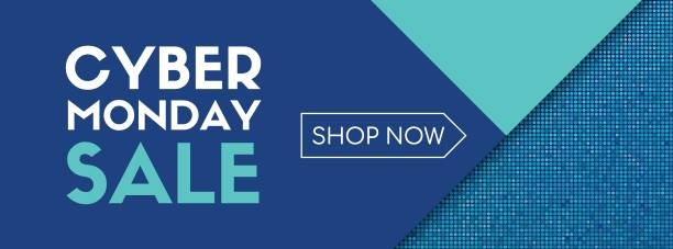 cyber monday sale. shop now. vector banner template - cyber monday stock illustrations