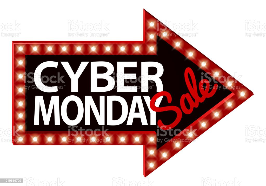 Cyber Monday Sale Sign Arrow vector art illustration