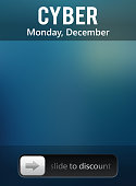 Cyber monday sale. Slide to discount banner. Design like lockscreen. Vector.