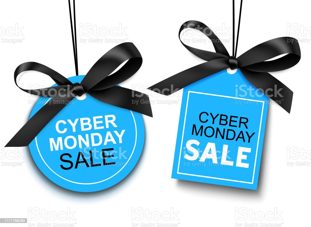 Cyber Monday sale tag with black bow for your design. Vector set of discount labels isolated on white background Badge stock vector