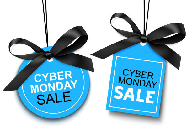 cyber monday sale tag with black bow for your design. - cyber monday stock illustrations