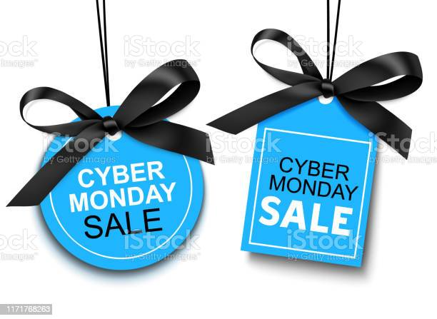 Cyber Monday Sale Tag With Black Bow For Your Design Stock Illustration - Download Image Now