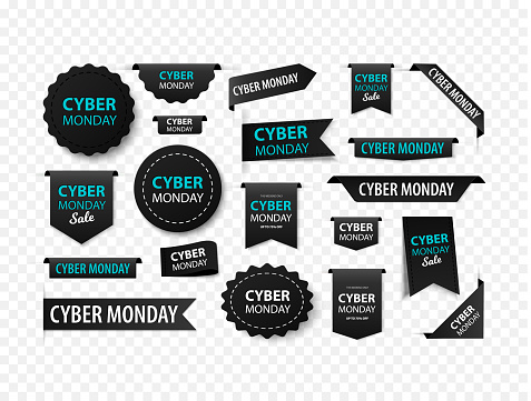 Cyber monday sale tags, vector black labels isolated on white background. Cyber monday 3d ribbon banners.