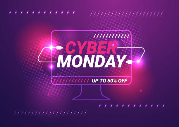 cyber monday sale template background - cyber monday stock illustrations