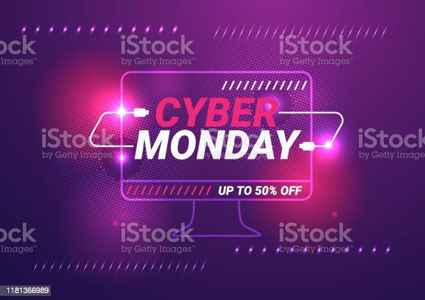 Cyber Monday Sale Template Background Stock Illustration - Download Image Now