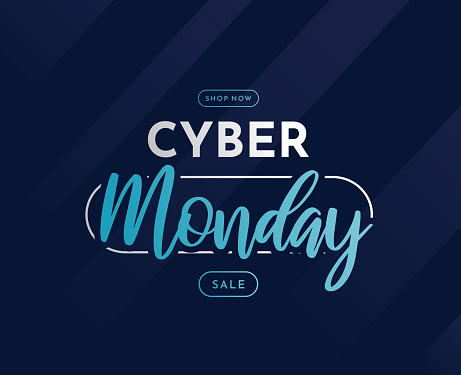 Cyber Monday sale template, banner, background. Vector