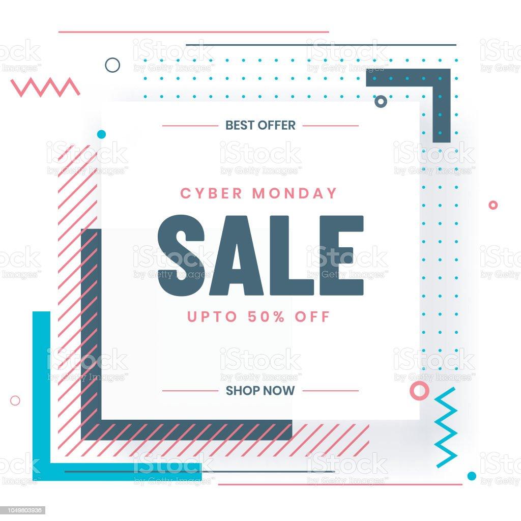 Cyber Montag Verkauf Vorlage Oder Flyer Design Mit 50 Rabatt Angebot