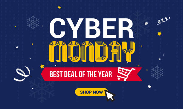 Cyber Monday Sale vector illustration, Text on binary code and snowflakes background. Cyber Monday Sale vector illustration, Text on binary code and snowflakes background. cyber monday stock illustrations